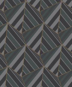 Geometric Prism Metallic Wallpaper Black
