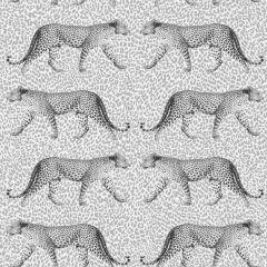 Prowling Leopard Print Wallpaper Silver