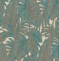 Hacienda Botanical Leaf Wallpaper Teal & Copper