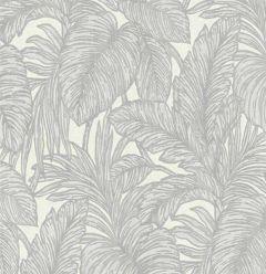 Hacienda Botanical Leaf Wallpaper Silver & Grey