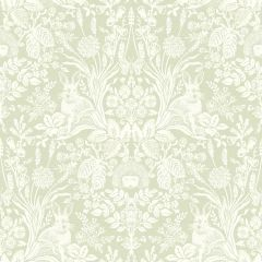 Harlen Woodland Wallpaper with a sage green background and a mirrored pattern of English garden plants and hedgehogs with rabbits too.