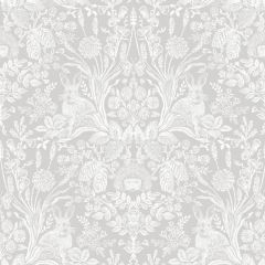 Harlen Woodland Wallpaper with a dove grey background and a mirrored pattern of English garden plants and hedgehogs with rabbits too.