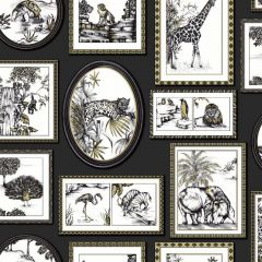 A black wallpaper with a variety of black & gold frames with various exotic animals like leopards, lions, penguins and peacocks throughout.
