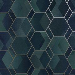 Asik Geo Wallpaper Teal/Gilver