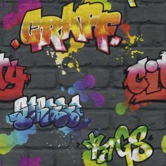 Kids Multi Graffiti Wallpaper