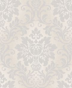 Fabric Damask Glitter Wallpaper Silver