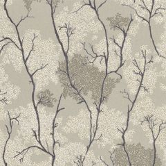 Japanese Garden Botanical Wallpaper Grey