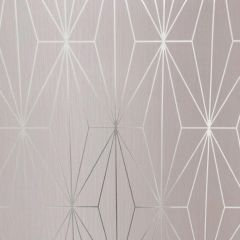 Kayla Metallic Geometric Wallpaper Silver & Blush Pink