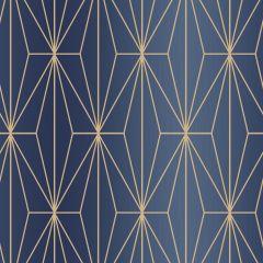 Kayla Metallic Geometric Wallpaper Blue & Bronze