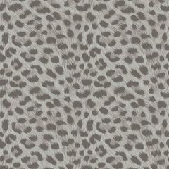Leopard Animal Print Metallic Wallpaper Grey