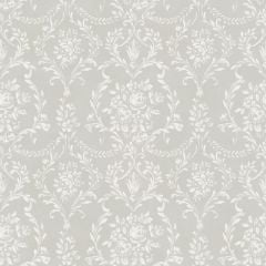 An elegant and subtle damask design in white with tiny white roses throughout on a dove grey background.