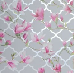 Magnolia Trellis Floral Wallpaper - Grey