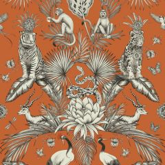 Menagerie Jungle Animals Wallpaper Orange