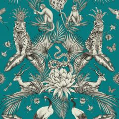 Menagerie Jungle Animals Wallpaper Teal