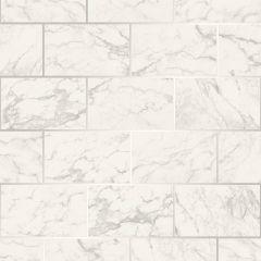 Metro Brick Marble Metallic Wallpaper-Silver