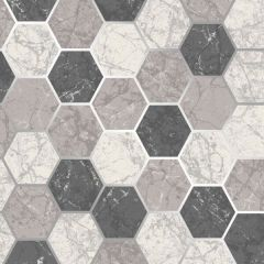 Metro Hexagon Marble Metallic Wallpaper-Multi