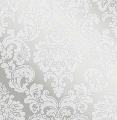 Monaco Glitter Damask Wallpaper Silver