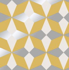 Nova Geometric Metallic Star Wallpaper Mustard