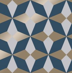 Nova Geometric Metallic Star Wallpaper Navy