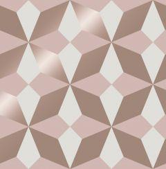 Nova Geometric Metallic Star Wallpaper Blush & Rose Gold
