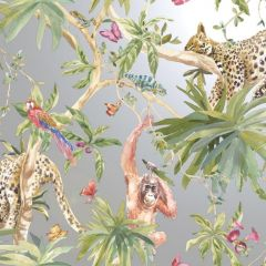 Orangutan Jungle Tropica Wallpaper Silver with orangutans, leopards and parrots across strings of trees, leaves and flowers with butterflies floating throughout.