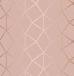 Platinum Geometric Metallic Wallpaper Blush Pink