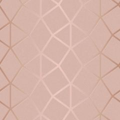 Platinum Geometric Metallic Wallpaper Blush Pink