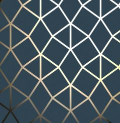 Platinum Geometric Metallic Wallpaper Navy