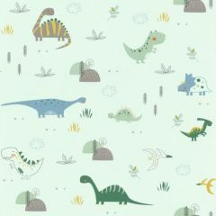 Rasch Bambino Dinosaurs Nature Wallpaper Mint Green