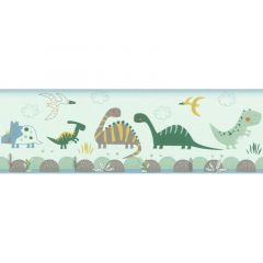 Rasch Bambino Dinosaurs Nature Wallpaper Mint Green Border