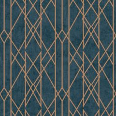 Gemini Lattice Metallic Navy & Copper Wallpaper