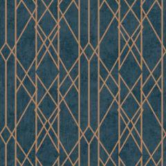 Gemini Lattice Metallic Wallpaper-Blue