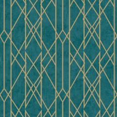 Gemini Lattice Metallic Teal & Gold Wallpaper