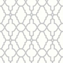 Casablanca Trellis Metallic Wallpaper White & Silver