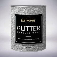 Rust-Oleum Glitter Feature Wall Paint 1 Litre Silver