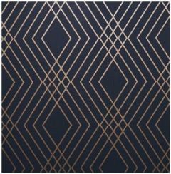 Shard Geo Trellis Wallpaper Navy Blue & Gold