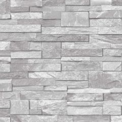 Stone Effect Wallpaper Grey with various rectangular stone-effect tile wallpaper pattern over the top.