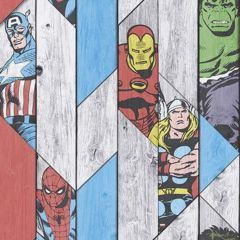 A wood panelling effect wallpaper with various geometric marvel heroes scattered around. Hulk, Iron man, Thor, Spiderman, Captain America.
