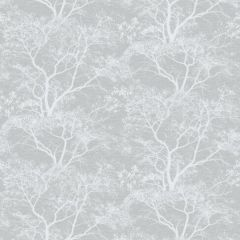 A silver grey background with white glittery tree silhouettes in the foreground.