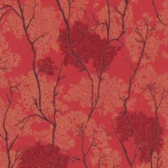 Japanese Garden Botanical Wallpaper Red