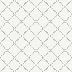 Trellis Metallic Wallpaper White/Silver