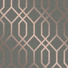 Quartz Metallic Trellis Wallpaper Dark Grey & Rose Gold
