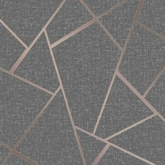 Quartz Fractal Wallpaper Grey & Rose Gold