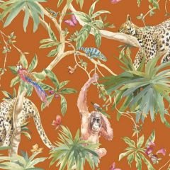 Orangutan Jungle Tropica Wallpaper Orange with orangutans, leopards and parrots across strings of trees, leaves and flowers with butterflies floating throughout.