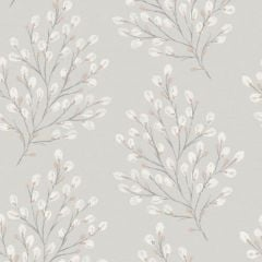A grey background with a simple willow-like design in an off-white colour on top.