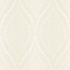 Kismet Moroccan Damask Wallpaper Cream a roll of wallpaper with a mandala-style design of cream glitter intricately balanced all over the top of the wallpaper.