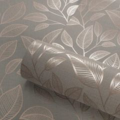 Rosemoor Metallic Leaf Wallpaper Rose Gold