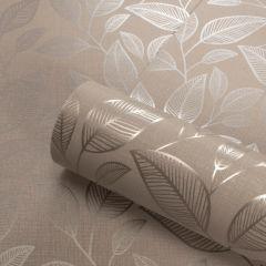 Rosemoor Metallic Leaf Wallpaper Taupe