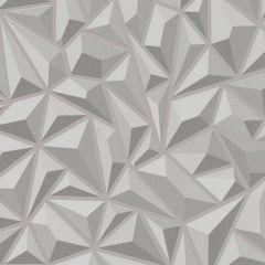 3D Geometric  Wallpaper Grey