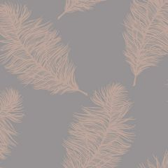 A dark charcoal grey background with elegant rose gold feathers all over the surface.